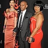 "Rihanna posed for photos alongside her grandfather Lionel ""Bravo"" Braithwaite and her mother, Monica Braithwaite."