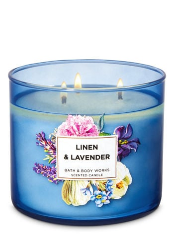 Bath & Body Works Linen and Lavender 3-Wick Candle