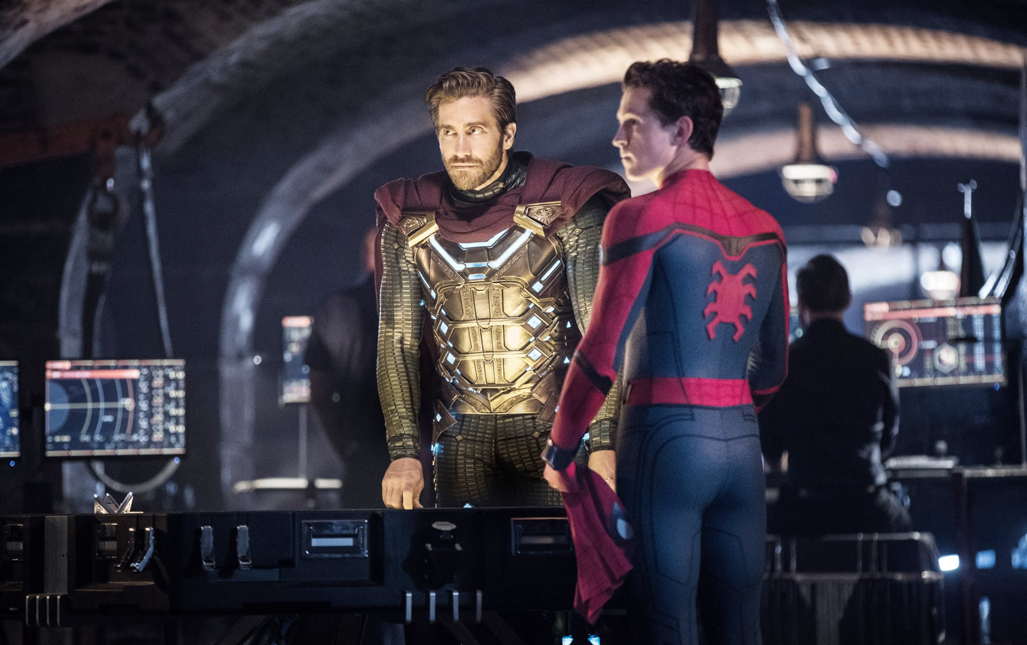 SPIDER-MAN: FAR FROM HOME, from left: Jake Gyllenhaal, Tom Holland, 2019. ph: Jay-Maidment /  Columbia /  Marvel Studios/ Courtesy Everett Collection