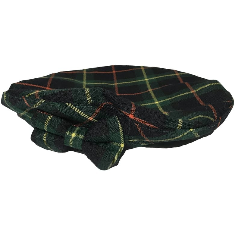 Orange, Yellow, and Green Plaid Beret Hat With Bow