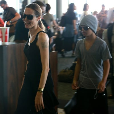 Angelina Jolie Landing in Hawaii With Maddox and Pax