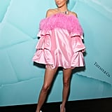 Kendall Jenner's Pink Feathered Dress in Sydney April 2019