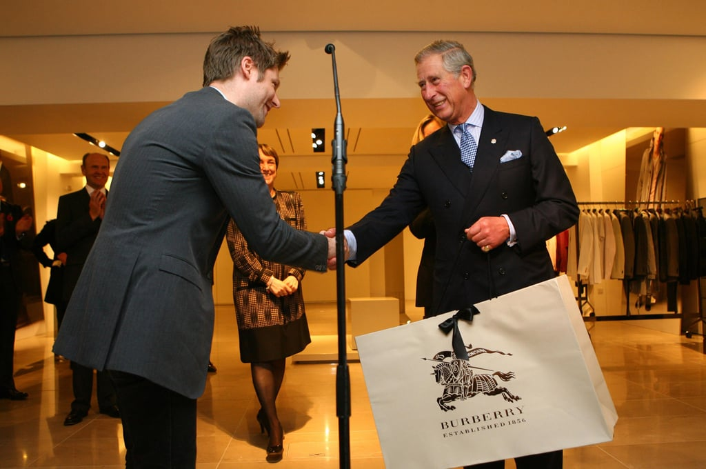 Photos of Prince Charles Visiting Burberry Prorsum