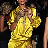 Rihanna had a big grin at the party.