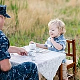 Military Dad's Tea Party With His Son