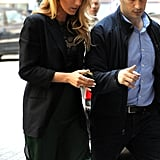 Blake Lively headed into an interview.