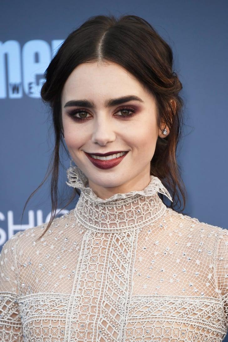 lily collins makeup and hair at 2017 critics choice