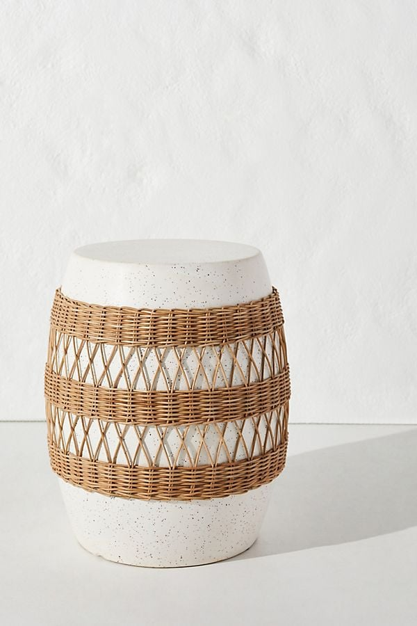 Maggie Rattan Wrapped Stool Anthropologie Outdoor Summer