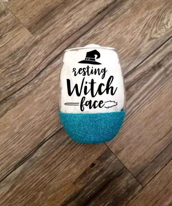 Resting Witch Face Halloween Glass