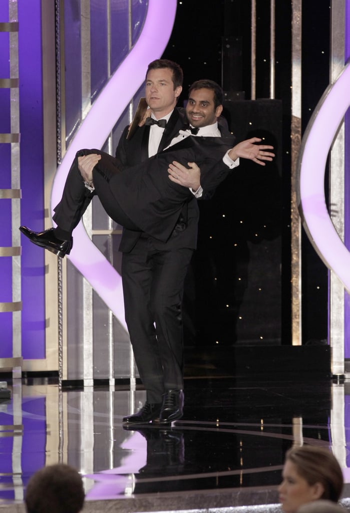 Jason Bateman carried Aziz Ansari out onto the stage at the Golden Globes.