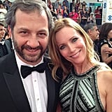 Cute couple Judd Apatow and Leslie Mann smiled for photos. Source: Instagram user peoplemag