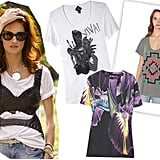 Taylor Tomasi Hill wearing Alexander McQueen corset over Madewell Bat tee, Viva Vena by Vena Cava Tee ($85), Urban Outfitters Tamaya Tee ($29), Christopher Kane Orchid Tee ($310) Photo: Greg Kessler