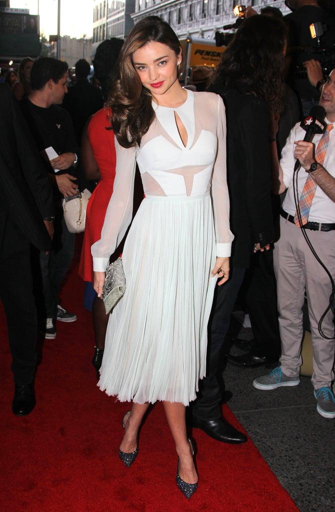 Miranda Kerr took in the opening night show of Romeo & Juliet in J. Mendel's cutout crepe dress.