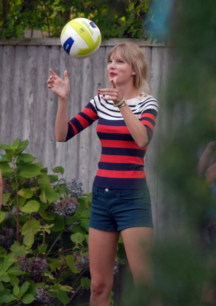 Taylor Swift wore stripes for a volleyball game in the Cape.