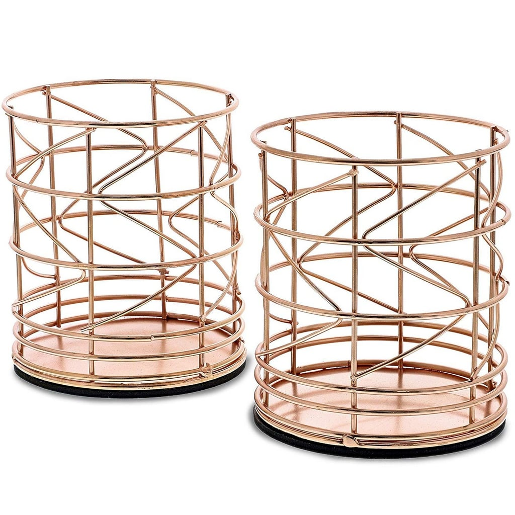 Juvale 2-Pack Rose Gold Metal Wire Pen Holders