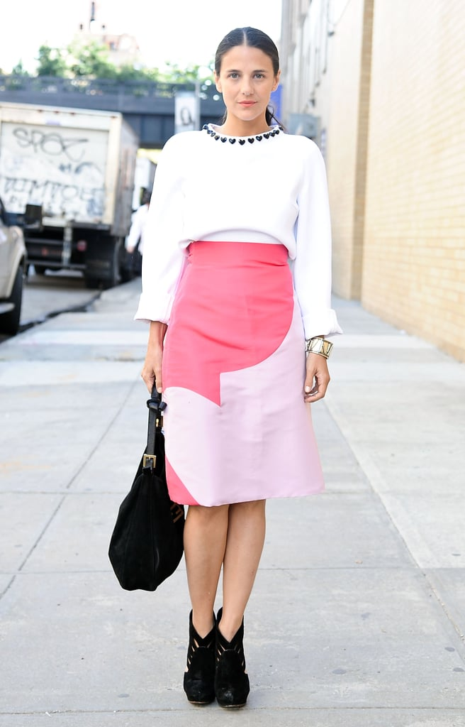 We were all about her quirky skirt and boxy top.