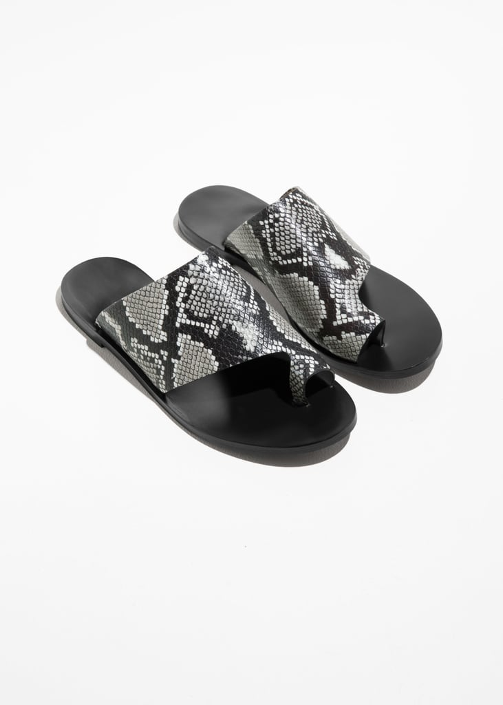 a44570577   Other Stories Curved Toe Strap Sandals in Snake Print