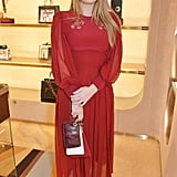 She wore a red midi dress to the Fendi store opening in December 2017.