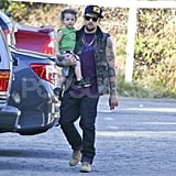 Sparrow Madden caught a ride on dad Joel Madden's hip.