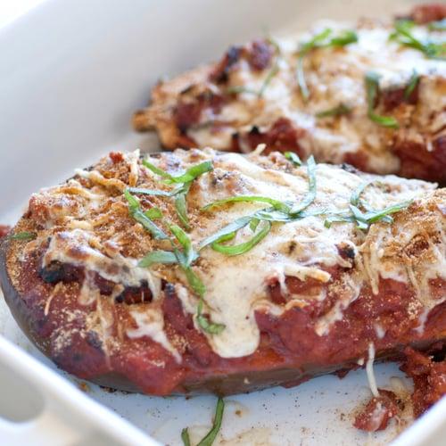 Baked eggplant parmesan popsugar food whole baked eggplant parmesan forumfinder Choice Image
