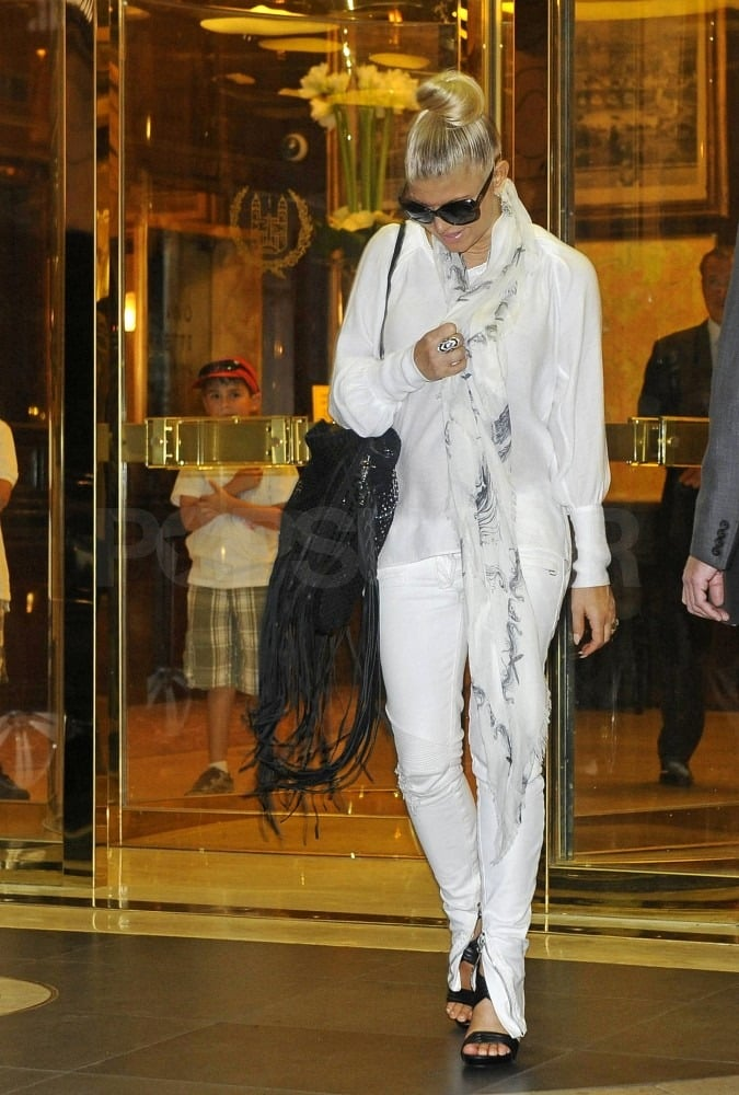 Fergie was spotted leaving her Roman hotel.