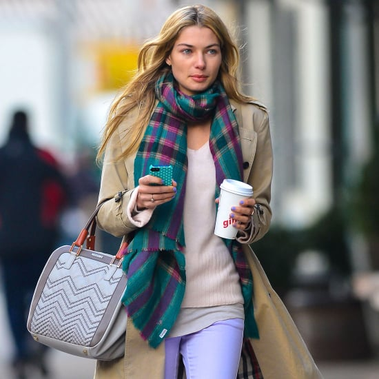 Jessica Hart Wears Purple Jeans in NYC | Pictures