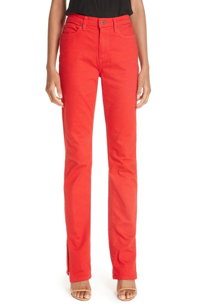 Simon Miller Slit Cuff Slim Leg Jeans (Red)