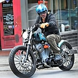 Brad Pitt wore a blue bike helmet in New Orleans.