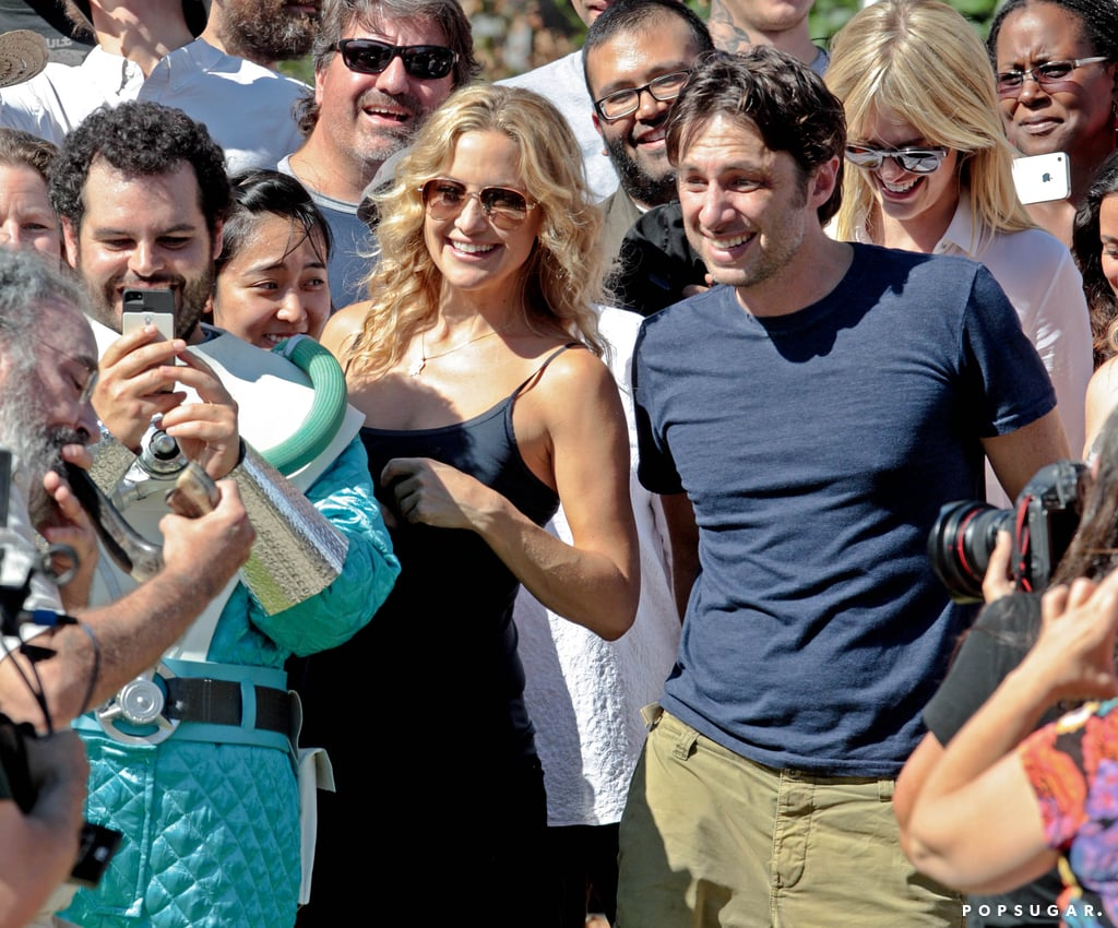 Kate Hudson, Zach Braff, and Josh Gad watched as Mandy Patinkin sounded a traditional shofar during their on-set Rosh Hashanah celebration in LA.
