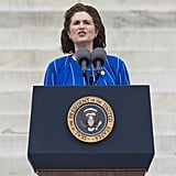 The daughter of former President Lyndon Johnson, Lynda Bird Johnson Robb, spoke during the commemorative event.