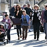 Victoria Beckham took all her children to the Louvre in Paris in April 2013.