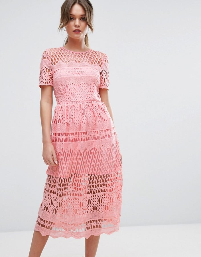 Boohoo Corded Lace-Paneled Skater Dress