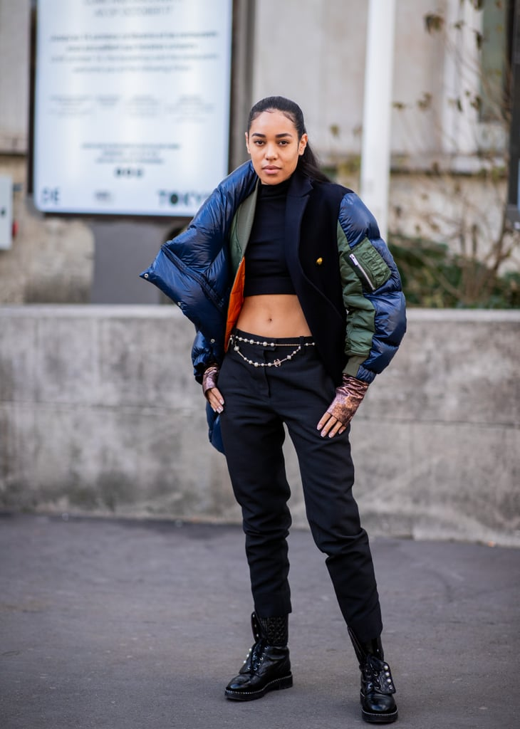 Style a Turtleneck Crop Top With Black Pants and a Puffer