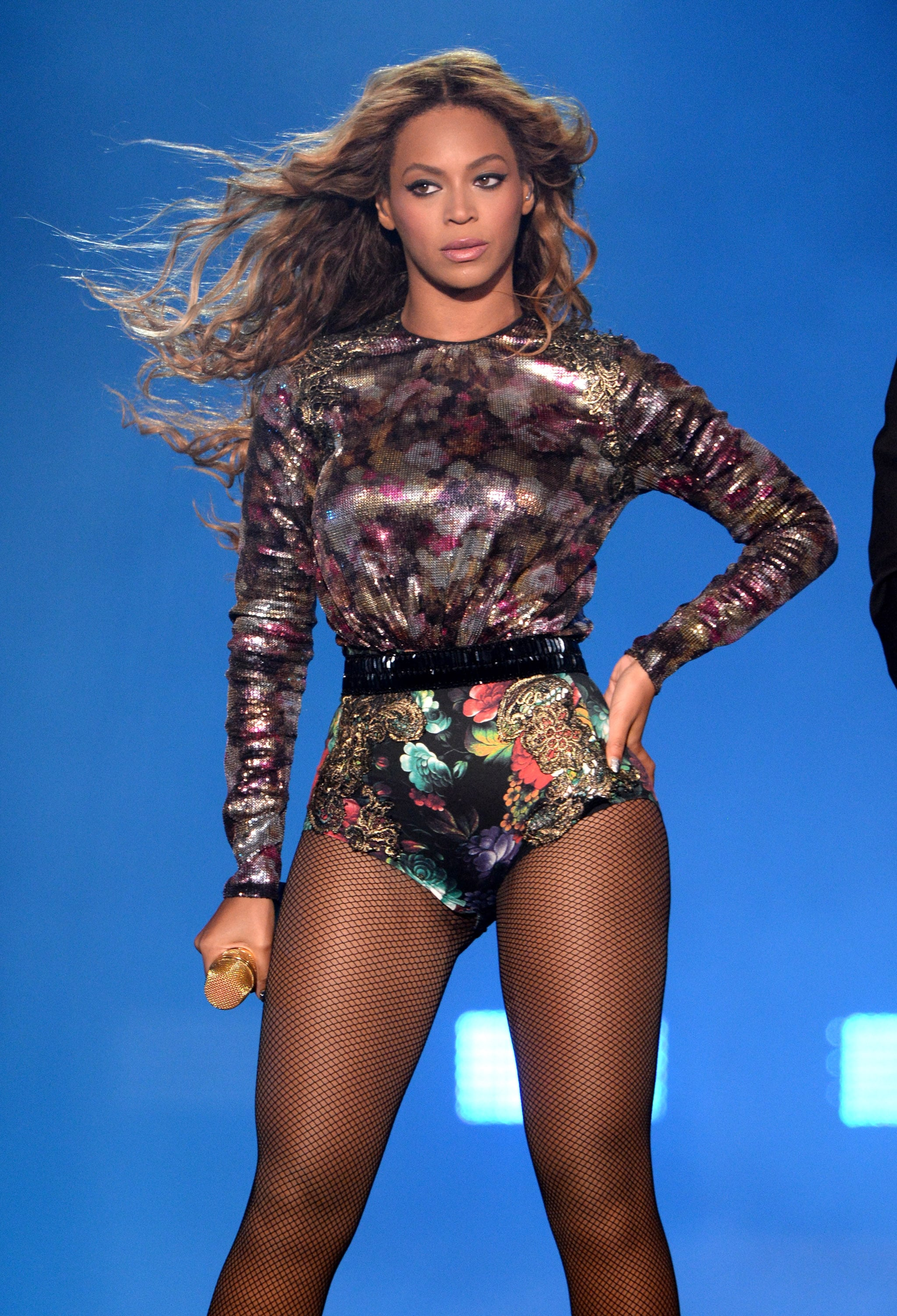 beyoncé in a floral leotard  there's no running from