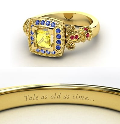 Sierra from Heck Yeah Disney Merch used Gemvara to create these Disney-princess-inspired rings —and they are spot-on, right down to the personalized engraving. You can buy Belle's ring here!