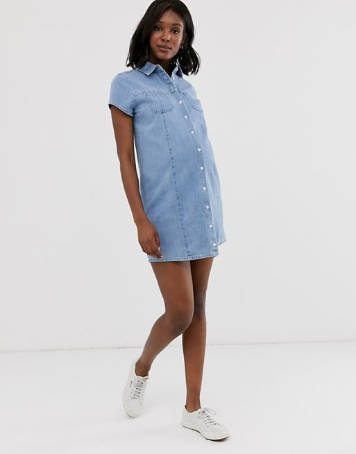 f059f99fb2d86 ASOS Design Maternity Soft Denim Short Sleeve Shirt Dress Midwash Blue