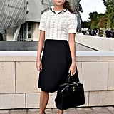 Playing Louis Vuitton pin-up, Alicia was kitted out in clothes by the brand at its Paris Fashion Week SS16 show in early October.