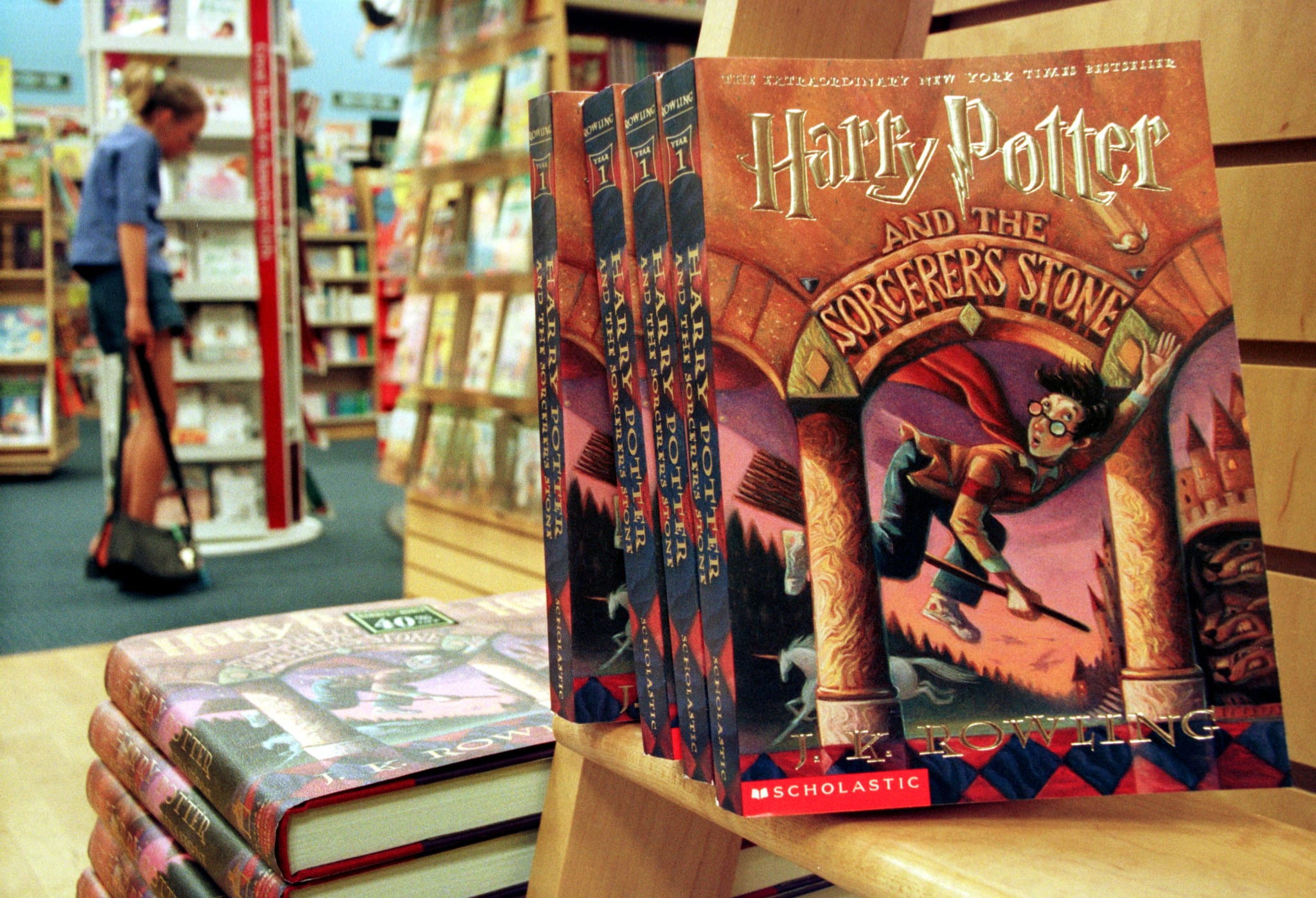 372284 01: Copies of author J. K. Rowling's Harry Potter series story books sit in a bookstore July 6, 2000 in Arlington, Va. Rowling's fourth book,