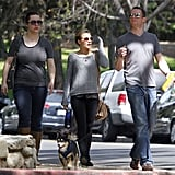 Animal lover Kristen Bell loves took her dog, Mr. Shakes, for a stroll with her friends through sunny LA March 2012.