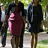 In 2012, Michelle and Malia held hands on the way to Easter services.