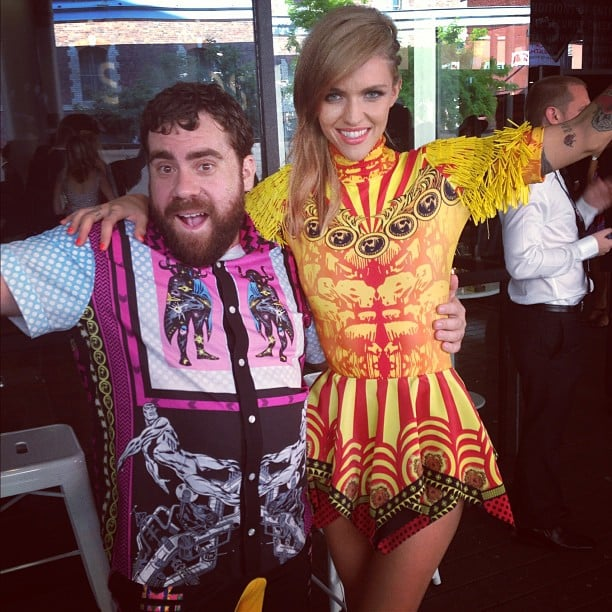 Ruby Rose and Luke Sales from Romance Was Born hung out before the ARIAs — Ruby's wearing a bright dress from the Aussie label! Source: Instagram user rubyrose86