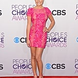 Lea Michele kept it short, simple, and really pink in an Elie Saab Spring '12 minidress and matching pink heels.