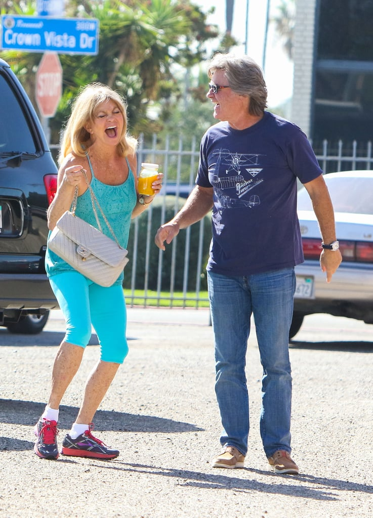 """When most celebrities spot the paparazzi, they don't look thrilled, but when Kurt Russell and Goldie Hawn saw some photographers on Wednesday, they got a total kick out of it. The longtime lovebirds were enjoying a sunny afternoon out in LA when the Deepwater Horizon actor pointed out the paparazzi to Goldie, who immediately dissolved into laughter. Whether they think photographers are the funniest people on the planet or Kurt is way, way funnier than we ever imagined, the couple never fail to show us what true love looks like when they're out and about together. You don't end up with one of the longest-lasting relationships in Hollywood without a good sense of humor, right?       Related:                                                                Goldie Hawn's Reason For Never Marrying Kurt Russell Makes Total Sense                                                                   Picture Proof That Kate Hudson Has the Coolest Family in Hollywood                                                                   Kate Hudson's #TBT Snap With Goldie Hawn Will Make You Miss Your Own Mom                                                                   Amy Schumer Responds to the Backlash About Her """"Formation"""" Dance Video With Goldie Hawn"""