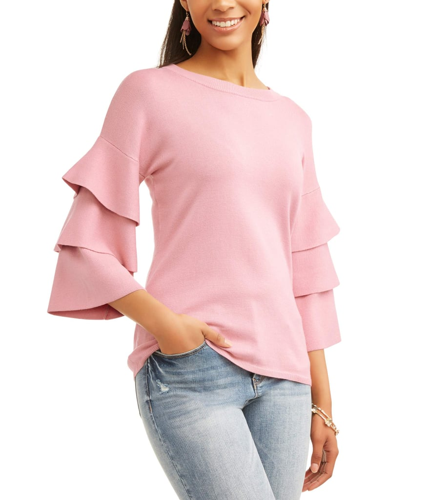 Time and Tru Tier Sleeve Sweater