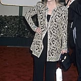 Meryl covered up her black jumpsuit with a beaded jacket at the 2000 Golden Globe Awards.