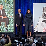 For her and Barack Obama's portrait unveiling at the Smithsonian National Portrait Gallery, Michelle wore an eye-catching navy outfit by Peter Pilotto.