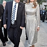 President Donald Trump and Melania arrived for a concert on May 2017 in Sicily. She wore a metallic Dolce & Gabbana dress and matching pumps from the fashion house.