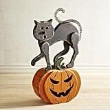 Black Cat on Jack-o'-Lantern Wooden Pumpkin