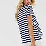 ASOS DESIGN Maternity Nursing Navy Stripe T-shirt With Button Sides