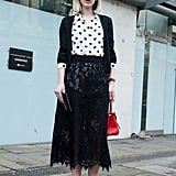 Polka dots and lace don't have to look twee, keep your shapes simple and the effect can be superstylish.